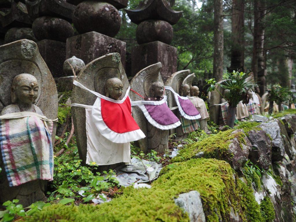 Jizo statues and gravestones at Okunoin Cemetery in Koyasan (Mount Koya) in Japan. Image: Alison Binney