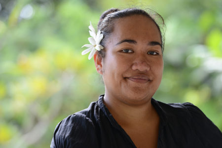 Teresa Mii Matamaki, Senior Environment Officer for the Cook Islands' National Environment Services, says it is important to collect feedback from remote communities when creating a national policy. Image credit: Alison Binney