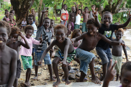Children from Roviana, a remote saltwater lagoon region in western Solomon Islands.