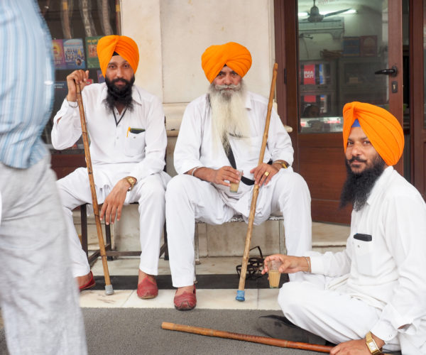 Sikh worshippers in New Delhi