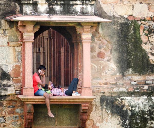 Locals enjoying Lodi Garden in New Delhi